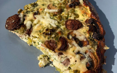Quiche sans pâte brocolis et champignons
