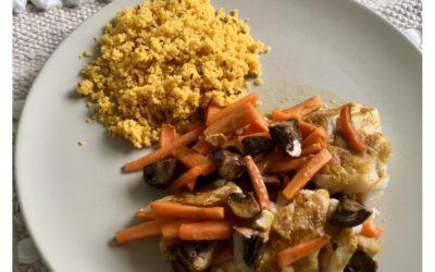 Filet d'églefin et légumes au four